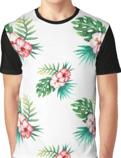 Tropical watercolor flowers pattern Graphic T-Shirt