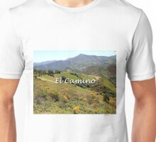 Mountains near O'Cebreiro, El Camino, Spain (caption) Unisex T-Shirt