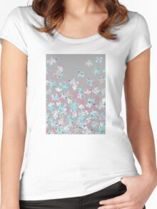 Flight - abstract in pink, grey, white & aqua Women's Fitted Scoop T-Shirt