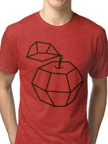 apple. polygonal design black and white drawing Tri-blend T-Shirt