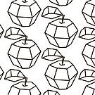 apple. polygonal design black and white drawing by OlgaBerlet