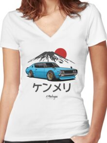 Nissan Skyline GTR Kenmeri (blue) Women's Fitted V-Neck T-Shirt
