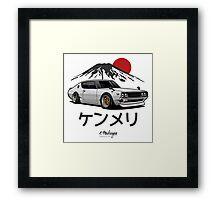 Nissan Skyline GTR Kenmeri (white) Framed Print