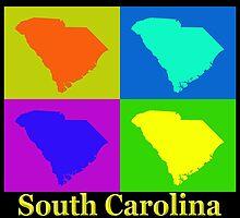 Colorful South Carolina Pop Art Map by KWJphotoart