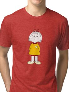 Cute Little Girl Whit Yellow Dress, Red Hair Ribbon And a Big Heart Tri-blend T-Shirt