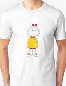 Cute Little Girl Whit Yellow Dress, Red Hair Ribbon And a Big Heart Unisex T-Shirt