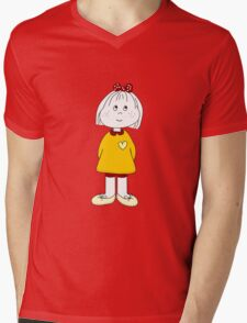 Cute Little Girl Whit Yellow Dress, Red Hair Ribbon And a Big Heart Mens V-Neck T-Shirt