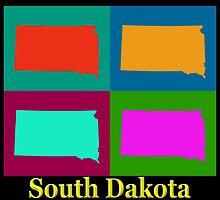 Colorful South Dakota Pop Art Map by KWJphotoart