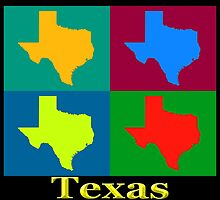 Colorful Texas Pop Art Map by KWJphotoart