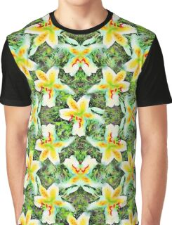 Watercolor White Lilies Green Leaves Aloha Botanical Graphic T-Shirt