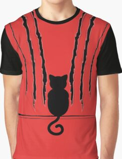 Black Cat Silhouette with Scratches 5 Graphic T-Shirt