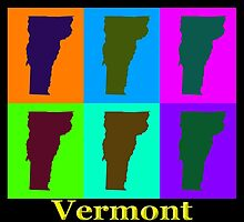 Colorful Vermont Pop Art Map by KWJphotoart