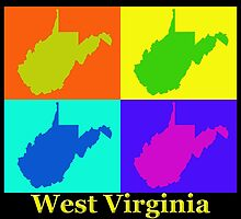 Colorful West Virginia Pop Art Map by KWJphotoart