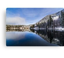 first snow at the mountain lake Canvas Print