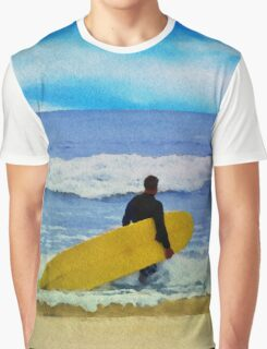 Watercolor painting of a surfer on the beach Graphic T-Shirt