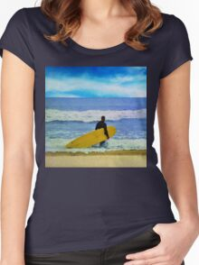 Watercolor painting of a surfer on the beach Women's Fitted Scoop T-Shirt