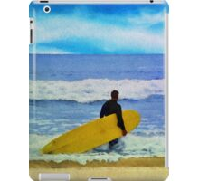 Watercolor painting of a surfer on the beach iPad Case/Skin