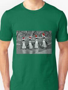 Penguins with Santa Claus caps Unisex T-Shirt
