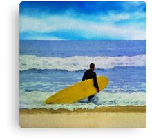 Watercolor painting of a surfer on the beach Canvas Print