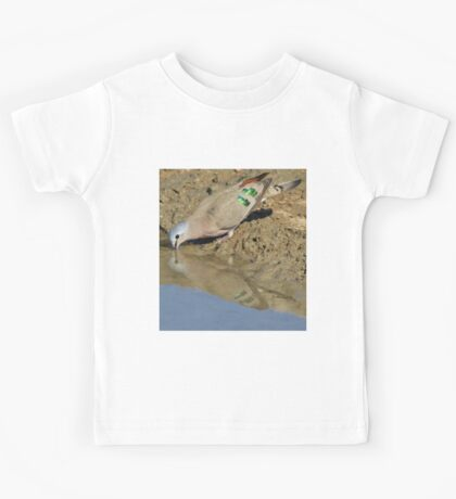 Emerald Spotted Dove - African Wild Bird Background - Reflection of Green and Blue Kids Tee
