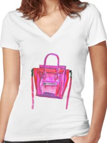 Pink  Bang  Women's Fitted V-Neck T-Shirt