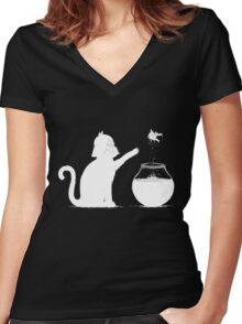 Cat And Fish Women's Fitted V-Neck T-Shirt