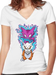 The Haunting -  Cubone & Haunter Fanart Women's Fitted V-Neck T-Shirt