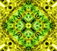 """Spirit of India: Cross-Column"" in grass green and yellow by FireFairy"