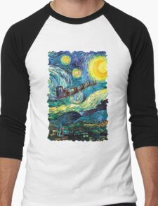Tardis Santa Starry Night Men's Baseball ¾ T-Shirt