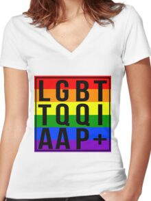 LGBTTQQIAAP+ Women's Fitted V-Neck T-Shirt