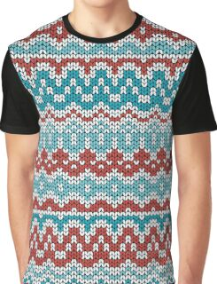 Colorful Christmas knitting pattern. Seamless winter ornament background. Graphic T-Shirt