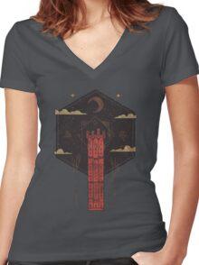 The Crimson Tower Women's Fitted V-Neck T-Shirt
