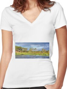 Yellow Waters Panorama Women's Fitted V-Neck T-Shirt