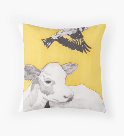 Golden Bird Throw Pillow