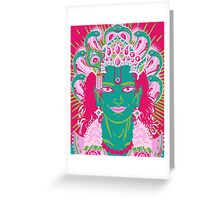Vishnu in pink and green Greeting Card