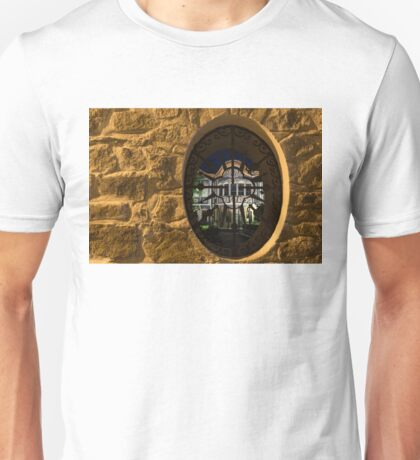 Illuminated Night View - Beautiful Revival House Through a Fence Window Unisex T-Shirt