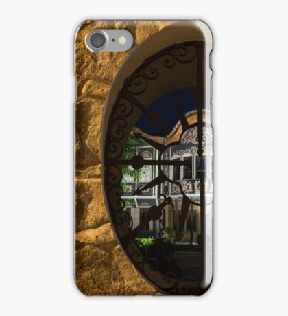 Illuminated Night View - Beautiful Revival House Through a Fence Window iPhone Case/Skin