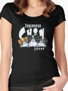 Japanese Chin Lover (Dark) Women's Fitted Scoop T-Shirt