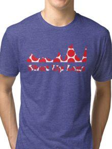 Shut Up Legs Red Polka Dot Mountain Profile Tri-blend T-Shirt
