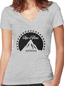 Alpe d'Huez (Black) Women's Fitted V-Neck T-Shirt