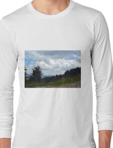 Beautiful natural scenery with mountains view and cloudy sky. Long Sleeve T-Shirt