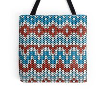 Red and blue Christmas seamless pattern. Knitting  traditional texture.   Winter background. Tote Bag