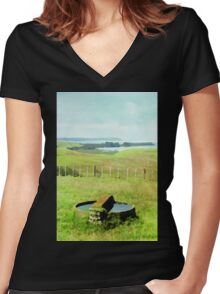Bay of Island, New Zealand in Watercolor Women's Fitted V-Neck T-Shirt