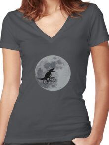Tyrannosaurus rex bicycle moon Women's Fitted V-Neck T-Shirt