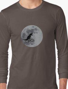 Tyrannosaurus rex bicycle moon Long Sleeve T-Shirt