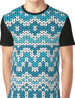 Christmas seamless pattern. Knitting  traditional texture.   Blue winter background. Graphic T-Shirt