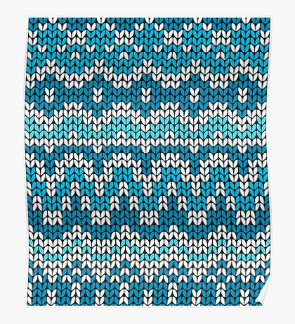 Christmas seamless pattern. Knitting  traditional texture.   Blue winter background. Poster