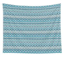 Christmas seamless pattern. Knitting  traditional texture.   Blue winter background. Wall Tapestry