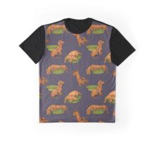 Vintage Dog and Bowl Repeating Pattern Graphic T-Shirt