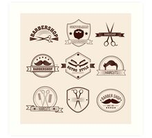 Barbershop Badges Set in Vintage Style Art Print
